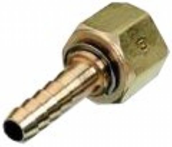 "Nut & Nipple, DISS F Swivel, O2, 1/4"" Barb, Brass Image"